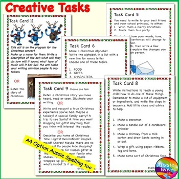 CHRISTMAS WRITING Task Cards Grade 4--6 writing letters narratives lists reviews