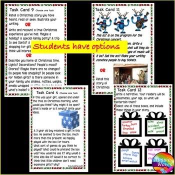 CHRISTMAS WRITING Task Cards Grades 2-4 Writing ideas