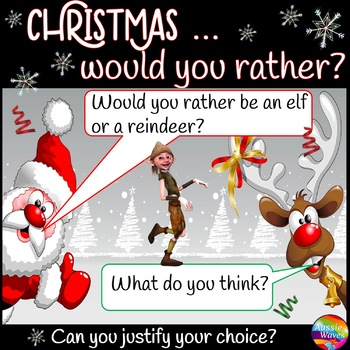 CHRISTMAS Would You Rather? Critical Thinking Decision Making Cards Holiday FUN!