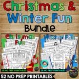 CHRISTMAS & WINTER FUN Worksheets K, 1, 2 Crossword, Word Search, Math, Reading