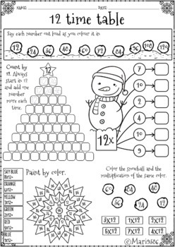 CHRISTMAS multiplications facts