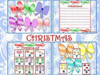 Christmas - Winter - ribbons - flashcards numbers- writing