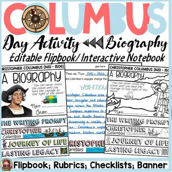 CHRISTOPHER COLUMBUS RESEARCH {BIOGRAPHY FLIPBOOK, CHECKLISTS, RUBRIC, BANNER}