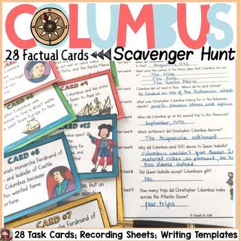 CHRISTOPHER COLUMBUS SCAVENGER HUNT {FACT CARDS, BANNER, P
