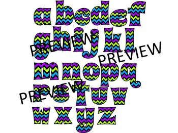 CHUBBY CHEVRON ALPHABET CLIP ART- SET 3- 52 LETTERS CLIP ART (CU)