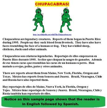 CHUPACABRAS! (FUN, COMMON CORE, SOME SPANISH)