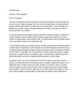 CI Story El Gato Perdido using verbs ser/estar/tener/ir