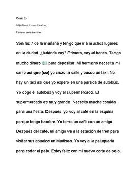 CI Story ¿Adónde voy? with the verb IR