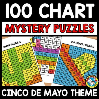 CINCO DE MAYO ACTIVITY KINDERGARTEN (100 CHART MYSTERY PICTURE PUZZLES)