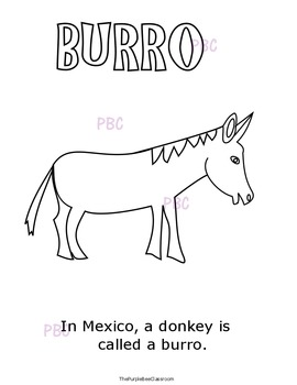 "CINCO DE MAYO ""Burro"" Coloring Sheet"