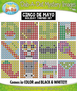 CINCO DE MAYO Dab-A-Dot Mystery Images Clipart {Zip-A-Dee-Doo-Dah Designs}