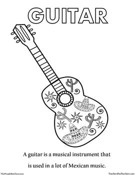 CINCO DE MAYO Guitar Coloring Sheet