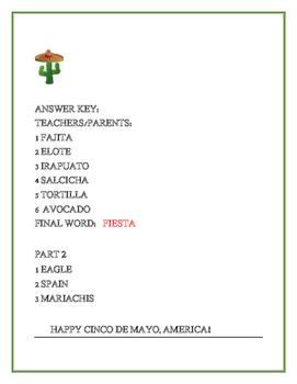 CINCO DE MAYO JUMBLE/ TRIVIA ACTIVITY