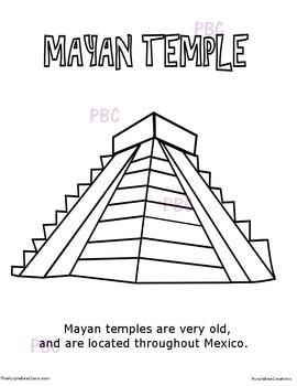 CINCO DE MAYO Mayan Temple Coloring Sheet