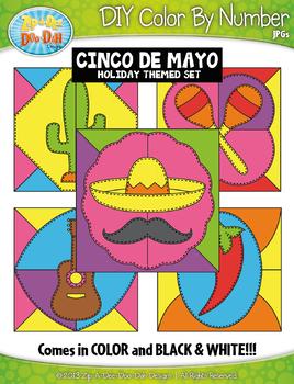 CINCO DE MAYO Quilt Color By Code Clipart {Zip-A-Dee-Doo-Dah Designs}