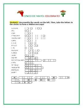 CINCO DE MAYO: VOCABULARY WORD JUMBLE ACTIVITY: FUN!