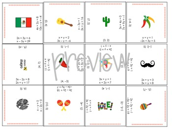 CINCO de MAYO - Systems of Linear Equations Puzzle