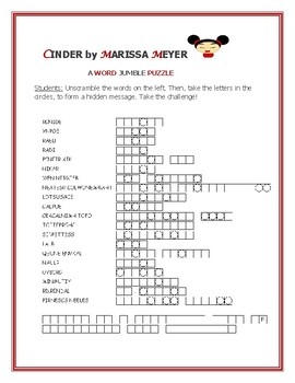 CINDER : THE NOVEL:  A WORD JUMBLE PUZZLE: CHALLENGE!