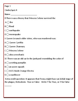 CINDER: THE NOVEL: QUIZZES  4,5,6 & ANSWER KEY