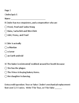 CINDER: THE NOVEL: QUIZZES 1-3, ANSWER KEY