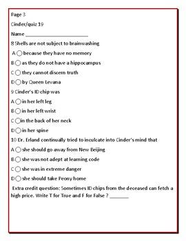 CINDER: THE NOVEL, QUIZZES: CHAPTERS 19,20, 21 & ANSWER KEY