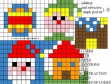 CHRISTMAS addition and subtraction simple pixel art, from 1 to 20
