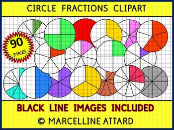 CIRCLE FRACTIONS CLIPART: MATH CLIPART: GEOMETRY CLIPART
