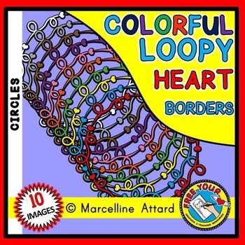LOOPY HEARTS CLIPART FRAMES: CIRCLE FRAMES CLIPART: HEART BORDERS: HEART FRAMES