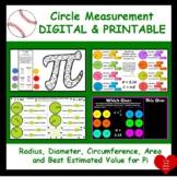 CIRCLE MEASUREMENTS:  Radius, Diameter, Circumference and Area