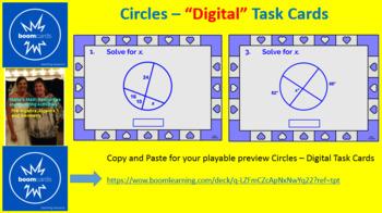 "CIRCLES - ANGLE MEASURES & SEGMENT LENGTHS: ""DIGITAL"" BOOM CARDS (36 TASK CARDS)"