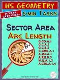 CIRCLES: Arc Length, Area of Sector (Geometry Warm-ups Curriculum Unit 29)
