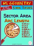 CIRCLES: Arc Length, Area of Sector (Geometry Warm-ups Cur