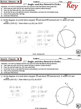 CIRCLES: Arcs and Angles Formed by Tangents, Chords, Secants (Warm-ups Unit 27)