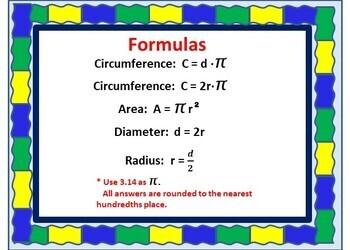 CIRCLES - (Area, diameter, circumference, radius)  BOOM Cards - 28 cards!