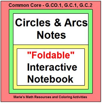 CIRCLES:  CIRCLES AND ARC NOTES FOR INTERACTIVE NOTEBOOK