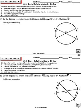 CIRCLES: Central /Inscribed Angles,Arcs (HS Geometry Curriculum Tasks - Unit 26)