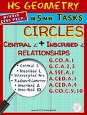 CIRCLES: Central /Inscribed Angles,Arcs (HS Geometry Curri