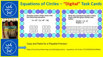 "CIRCLES - EQUATIONS OF CIRCLES: ""DIGITAL"" BOOM CARDS (20 TASK CARDS)"