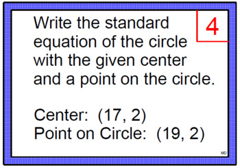 CIRCLES:  EQUATIONS OF CIRCLES SCOOT GAME OR WALK AROUND