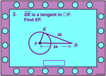 """CIRCLES - PROPERTIES OF TANGENTS:  """"DIGITAL"""" BOOM CARDS (20 TASK CARDS)"""