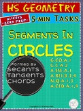 CIRCLES: Segments and Arcs Formed by Tangents, Chords, Secants (Warm-ups Un. 28)