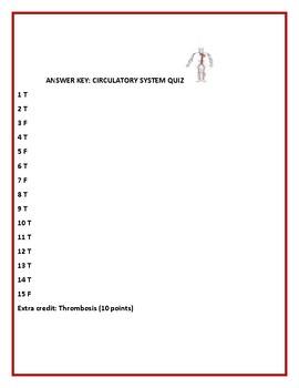 CIRCULATORY SYSTEM QUIZ: A TRUE/FALSE QUIZ, 1 EXTRA CREDIT FILL IN
