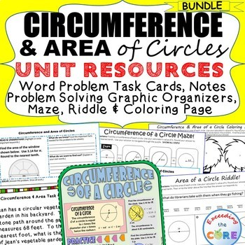 CIRCUMFERENCE & AREA of CIRCLES BUNDLE Task Cards, Word Problem Solving, Puzzles