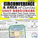 CIRCUMFERENCE & AREA of CIRCLES BUNDLE Task Cards, Word Pr