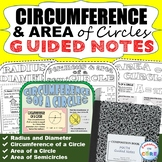 CIRCUMFERENCE & AREA of CIRCLES Guided Notes (Study Guides)