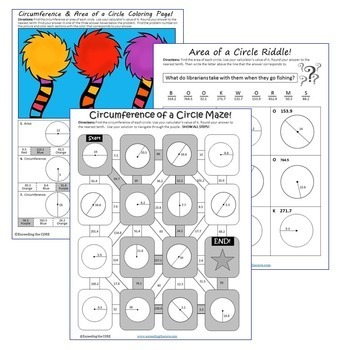 CIRCUMFERENCE & AREA of CIRCLES Maze, Riddle, Coloring Page (Fun Activities)