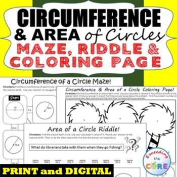 CIRCUMFERENCE & AREA of CIRCLES Maze, Riddle, Coloring Pag