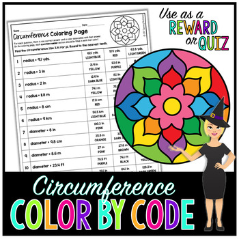 CIRCUMFERENCE OF CIRCLES MATH COLOR BY NUMBER, QUIZ