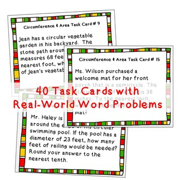 CIRCUMFERENCE and AREA of CIRCLES Word Problems - Task Cards {40 Cards}