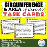CIRCUMFERENCE and AREA of CIRCLES Word Problems - Task Car